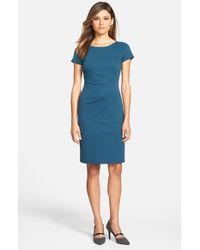 Lafayette 148 New York - Blue Side Pleat Cap Sleeve Ponte Knit Sheath Dress - Lyst