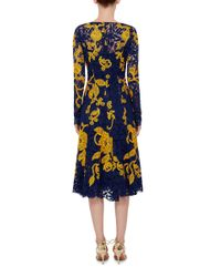 Lyst Oscar De La Renta Navy And Yellow Embroidered Lace