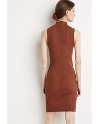 Forever 21 - Brown Contemporary Ribbed Knit Bodycon Dress - Lyst