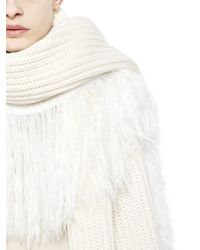 J.W.Anderson - White Fringed Chunky Wool Blend Scarf - Lyst