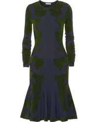 Zac Posen   Blue Contrast-Embroidered Flared Skirt Dress   Lyst