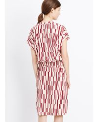 VINCE | Red Piano Print Silk Dress | Lyst