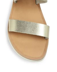 Joie - Avalon Metallic Leather Double-strap Slides - Lyst