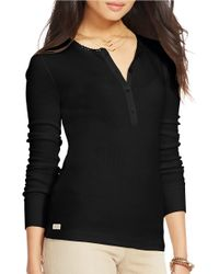 Lauren by Ralph Lauren | Black Cotton Waffle-knit Henley | Lyst