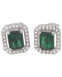 Carolee | Green Cushion Crystal Clip-on Earrings | Lyst