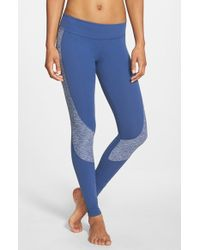Beyond Yoga - Blue Curved Space Dye Panel Leggings - Lyst