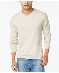 Weatherproof | Natural Vintage Solid V-neck Cashmere-blend Sweater for Men | Lyst