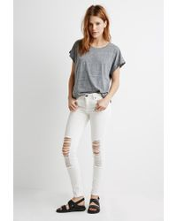 Forever 21 | Gray Cuffed-sleeve Heathered Tee | Lyst