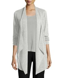 Eileen Fisher - Gray Jersey Cascading Cardigan - Lyst