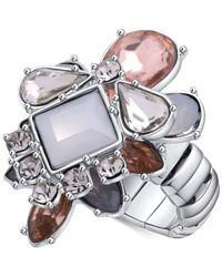 Guess - Metallic Silver-tone Multi-crystal Stretch Ring - Lyst