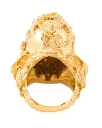 Alexander McQueen | Metallic Floral Skull Cocktail Ring | Lyst
