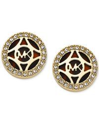 Michael Kors | Metallic Gold-Tone Tortoise Open Monogram Stud Earrings | Lyst