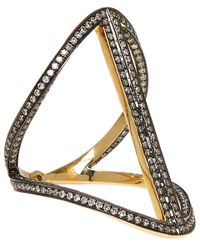 Noor Fares - Metallic Gold-plated Sapphire Rhombus Ring - Lyst