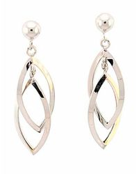 Lord & Taylor | 14k White Gold Textured Marquis Drop Earrings | Lyst