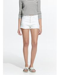 Mango - Natural White Denim Shorts - Lyst