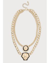 Bebe | Metallic Double Lion Chain Necklace | Lyst