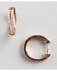 KC Designs - Pink Diamond and Rose Gold Two Bar Huggie Earrings - Lyst