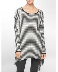 Calvin Klein | White Performance Stripe High Low Side Tunic | Lyst
