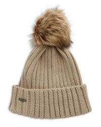 Calvin Klein - Natural Ribbed Knit Faux-fur Pompom Beanie - Lyst