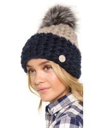 Mischa Lampert - Black Deep Beanie Hat - Taupe/navy/silver Fox - Lyst