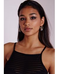 Missguided - Metallic Marble Stone Cut Out Earrings - Lyst