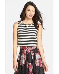 Eliza J - Black Embellished Stripe Crop Top - Lyst