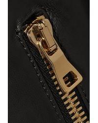 Balmain - Black Fringed Leather Biker Jacket - Lyst