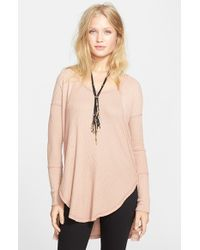 Free People - Pink 'Ventura' High/Low Thermal Top - Lyst