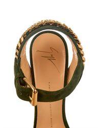 Giuseppe Zanotti - Green Chain-Embellished Suede Cork Wedges - Lyst