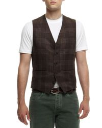 Brunello Cucinelli | Brown Brwn Plaid Waist Coat for Men | Lyst