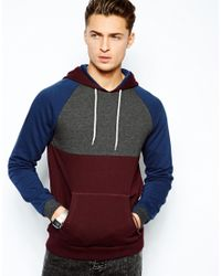 ASOS | Brown Hoodie with Cut and Sew Panels for Men | Lyst