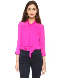 MILLY - Cascade Ruffle Blouse - Fluo Pink - Lyst