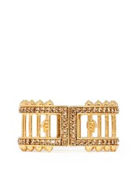 Alexander McQueen - Metallic Stud And Bar Embellished Skull Bangle - Lyst