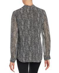 Calvin Klein | Black Patterned Blouse | Lyst