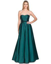 Badgley Mischka | Green Cone Godet Strapless Evening Gown | Lyst