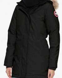Canada Goose - Victoria Fur Trim Parka: Black - Lyst