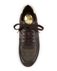 MICHAEL Michael Kors - Brown Allie Wrap Leather Sneaker - Lyst