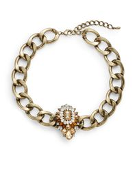 Saks Fifth Avenue | Metallic Embellished Chain Collar Necklace | Lyst