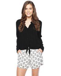 Splendid | Black Long Sleeve Shirt With Tie | Lyst