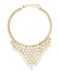 R.j. Graziano - Metallic Tapered Pearly Bib Necklace - Lyst