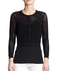 MILLY - Black Cropped Perforated Cardigan - Lyst