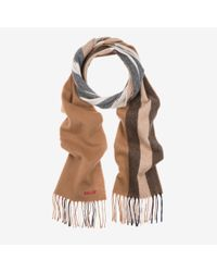 Bally - Brown Solid Stripe Wool Mix Scarf for Men - Lyst