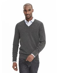 Banana Republic | Gray Todd & Duncan Cashmere Vee Pullover for Men | Lyst