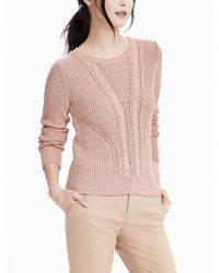 Banana Republic | Pink Cable Pullover Sweater | Lyst