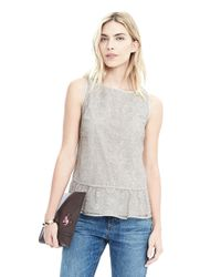 Banana Republic | Gray Sleeveless Ruffle Hem Top | Lyst