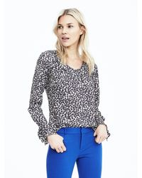 Banana Republic | Blue Easy Care Print Layered-cuff Blouse | Lyst