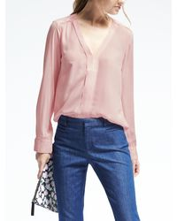 Banana Republic | Pink Easy Care Vee Popover Blouse | Lyst