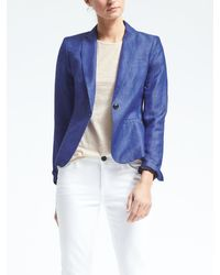 Banana Republic | Blue Chambray Linen-blend Blazer | Lyst