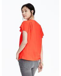 Banana Republic - Multicolor Pleated Shoulder Wrap-front Top - Lyst