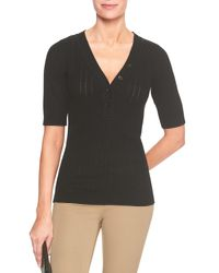 Banana Republic Factory - Black Elbow Sleeve Henley Sweater - Lyst